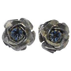 Blue Rhinestone Silver Tone Flower Figural Clip Earrings