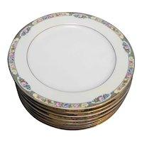 Thomas Bavaria 3816 Floral Yellow Rim Dinner Plates Set of 8