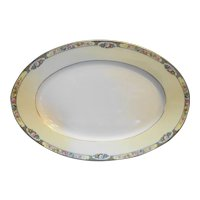 Thomas Bavaria 3816 Floral Yellow Rim Oval Platter 15 IN