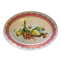 Brookpark Wine Cheese Fruit Red Check Border Melmac Oval Platter
