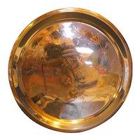 Copper Flower Engraved Round Tray Platter
