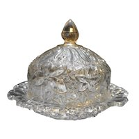 Indiana Glass Daisy Button Narcissus Covered Round Butter Dish