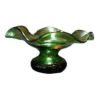 Cellini Masterpieces Italy Art Glass Olive Green Ruffled Compote Bowl