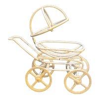 White Glitter Wire Metal Tiny Doll Baby Buggy Pram Stroller Toy Mini