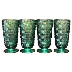 Indiana Glass Tiara Exclusives Whitehall Teal Green Iced Tea Tumblers