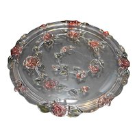 Mikasa Crystal Walther W Germany Bella Rosa Pink Cake Plate