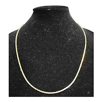 """Gold Tone Flat Chain Hammered Necklace 24"""""""
