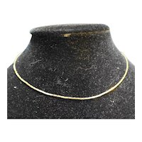 Gold Tone Flat Chain Necklace 16""