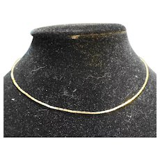 """Gold Tone Flat Chain Necklace 16"""""""