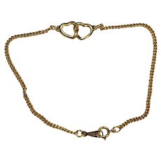Gold Tone Chain Linked Hearts Anklet