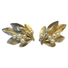 Crown Trifari Gold Tone Leaf Faux Pearls Earrings