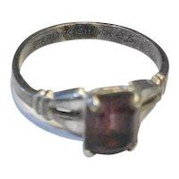 Purple Emerald Cut Stone Sterling Shank Vintage Ring