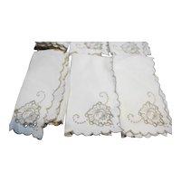 Vintage Cutwork Linen Embroidered Dinner Cloth Napkins Set of 6