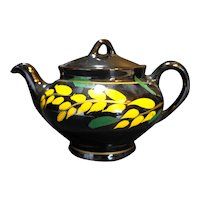 Brown Glaze Hand Painted Redware Teapot Yellow Leaves