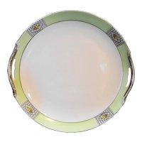 Noritake Art Deco Green Rim Floral Cake Plate 1930s