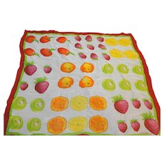 Liz Claiborne Bright Fruit Silk Chiffon Square Scarf