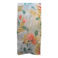 Roses Chiffon Floral Long Scarf Taupe Pink Green