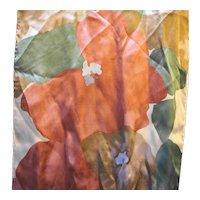 Liz Claiborne Long Silk Scarf Watercolor Print Rust Brown Green Cream