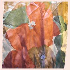 Liz Claiborne Long Silk Scarf Watercolor Print Rust Brown Green Cream