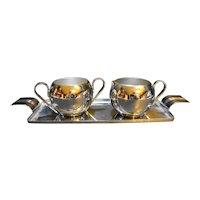 Revere Chrome Art Deco Cream Sugar Tray Set Norman Bel Geddes Design 1930s