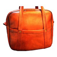 Vintage Red Vinyl Luggage Carryon Overnight Traveling Tote Bag