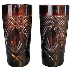Cristal d'Arques JG Durand Antique Ruby Red Tumblers Coolers