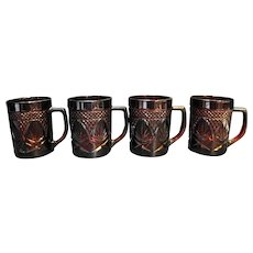 Cristal d'Arques JG Durand Antique Ruby Red Mugs Set of 4