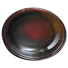Ruby Red Glass Round Platter Torte Plate Plain 12 1/2""