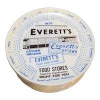 Everett's Food Store Goshen, Indiana 1935 Advertising Calendar Plates Set of 12