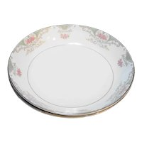 Mikasa Valentine 5007 Coupe Soup Cereal Bowls Pair Pink Roses
