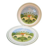 Sango Country Cottage Dinner Plates Pair