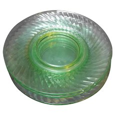 Imperial Twisted Optic Green Depression Uranium Glass Lunch Salad Plates