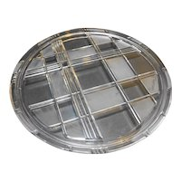 Mikasa Stratton Cake Plate Crystal Walther Germany Frosted Plaid
