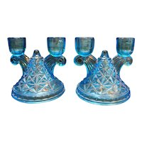 Indiana Glass Monticello Sky Blue Double Light Candles Pair