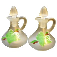 Hazel Atlas Ivy Gay Fad Hand Painted Frosted Glass Cruets Pair