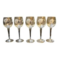 Toscany Gray Cut Floral Wine Glasses Set of Five Made in Romania