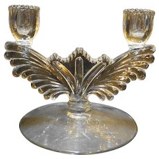 Tiffin 5904 Elegant Glass Double Light Candle Holder Wing Shape