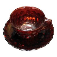 Royal Ruby  Bubble Cup Saucer Anchor Hocking