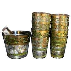 Cera Golden Grapes Green Ice Bucket Tumblers Set