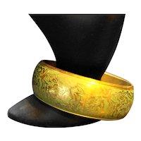Etched Brass Bangle Bracelet Green Background
