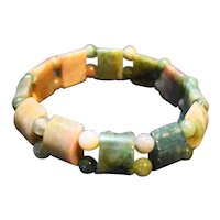 Green Mauve Marbled Lucite Stretch Bracelet