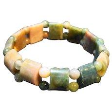 Green Mauve Marbled Lucite Stretch Bracelet
