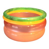Moonglow Lucite Bangles Group Pink Peach Green
