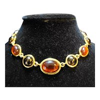 Amber Brown Lucite Glass Cab Necklace Gold Tone Choker