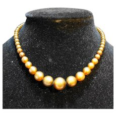 Brown Moonglow Lucite Bead Choker 1930s