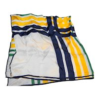 Green Blue Yellow White Plaid Acetate Scarf Japan