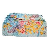 Sky Blue Floral Silk Scarf