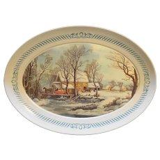 Brookpark Currier & Ives Melmac Oval Platter