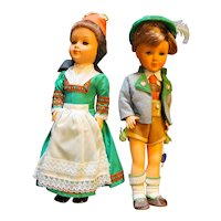 Vintage Gura Hard Plastic Boy Girl Dolls Pair Bavarian Costume 12""