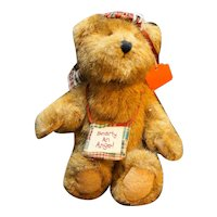 Boyds Plush Bearly an Angel Bear Brown Jointed Rascal Patchwork Halo and Wings
